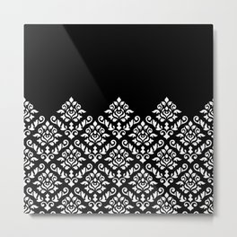 Damask Baroque Part Pattern White on Black Metal Print