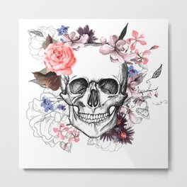 Floreal Skull Metal Print