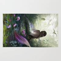 little mermaid Area & Throw Rugs featuring Little mermaid by milyKnight