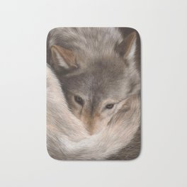 Timber Wolf Painting Bath Mat
