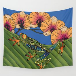 Tree Frog with Orchids Wall Tapestry