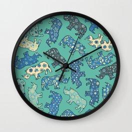 Rhino Patchwork Pattern - emerald & blue Wall Clock