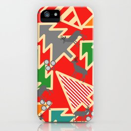 Retro deer and Christmas trees iPhone Case