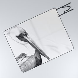 Black and White Pelican Picnic Blanket
