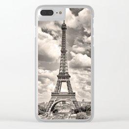 Eiffel Tower in sepia in Paris, France. Landmark in Europe Clear iPhone Case