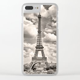 Eiffel Tower in sepia in Paris, France. Landmark in Europe Clear iPhone Case
