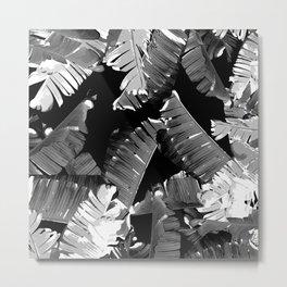 Banana White & Black Metal Print