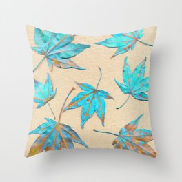 Japanese maple leaves - turquoise and gold on unbleached paper Throw Pillow
