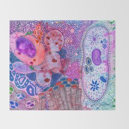 Bacterial world Throw Blanket