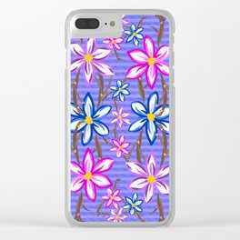 Violet Stripes with Flowers Clear iPhone Case