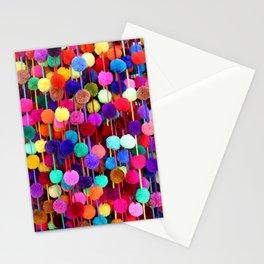 Rainbow Pom-poms (Vertical) Stationery Cards