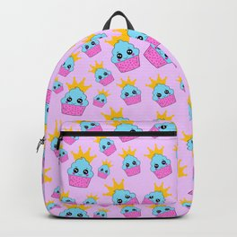 cute blue and pink cupcakes with golden crown baby junior pattern design Backpack