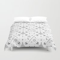 deathly hallows Duvet Covers featuring Deathly Hallows (White) by Mírë