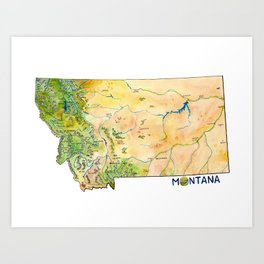 Montana Painted Map Art Print