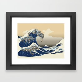 The Great Wave of Pugs Vanilla Sky Framed Art Print