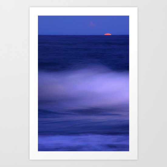 The red moon and the sea Art Print