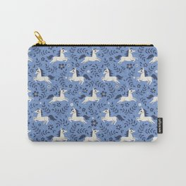 Floral Ponies (Light Blue) Carry-All Pouch
