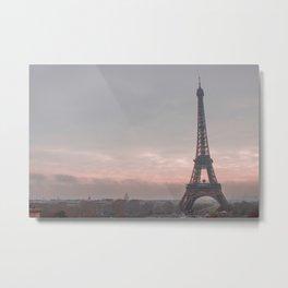 Pink Sunrise Paris Metal Print