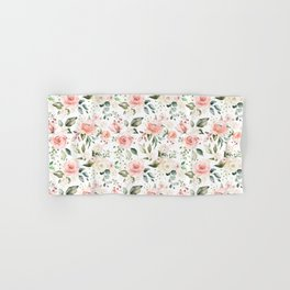 Sunny Floral Pastel Pink Watercolor Flower Pattern Hand & Bath Towel