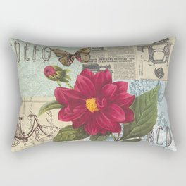 Ride with a Butterly and a Flower Rectangular Pillow