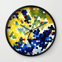 Yellow and Blue Honeycombs Wall Clock