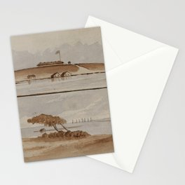 H.E. Valentine - Beaufort Harbor and Fort Macon, N. Carolina, 1863 Stationery Cards