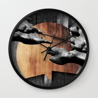 finland Wall Clocks featuring Pegasos Over Finland by Samu Salovaara