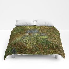 Old stone wall with moss Comforters