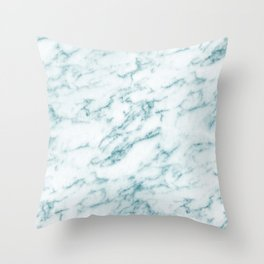 Ribbons of Aqua and White Marble Throw Pillow