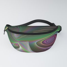 Colorful Twists, Abstract Fractal Art Fanny Pack