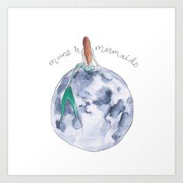 The Mermaid & The Moon Art Print