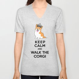 Keep Calm and Walk the Corgi Unisex V-Neck
