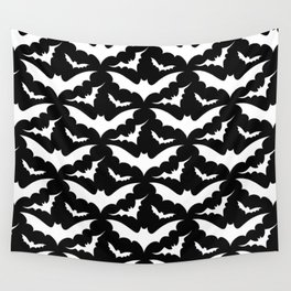 Black and White Bats Wall Tapestry