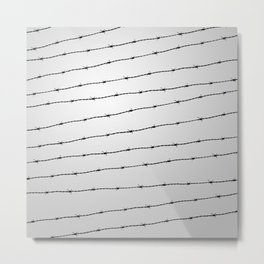 Cool gray white and black barbed wire pattern Metal Print