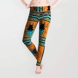 Black Turquoise Stag horn Beetle Western Art Abstract Leggings