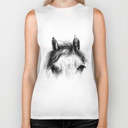 Horse animal head eyes ink drawing illustration. Mammal face portrait Biker Tank