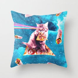 Space Cat Eating Pizza - Rainbow Laser Eyes, Burrito Throw Pillow