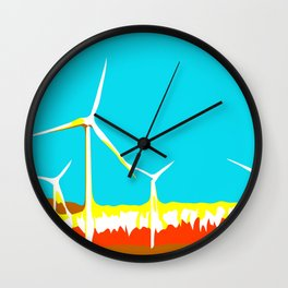 wind turbine in the desert with blue sky Wall Clock