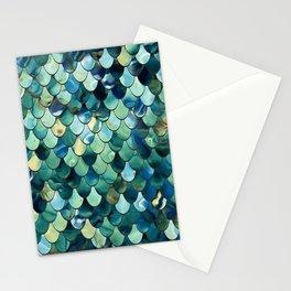 Mermaid Art, Sea Green, Ocean Blue Stationery Cards