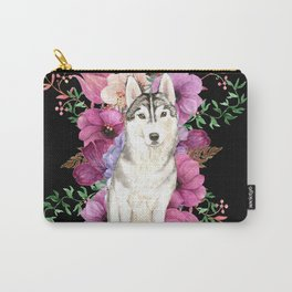 Watercolor Dog Siberian Husky Floral Art Carry-All Pouch