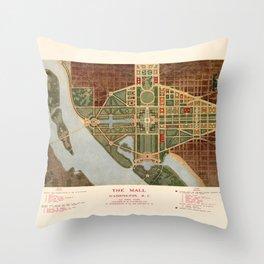 The Mall, Washington D.C. Map (1915) Throw Pillow
