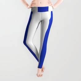 Persian blue - solid color - white vertical lines pattern Leggings