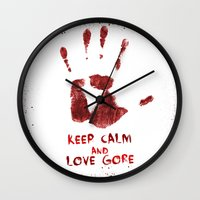 gore Wall Clocks featuring Love Gore by Victor Rodriguez