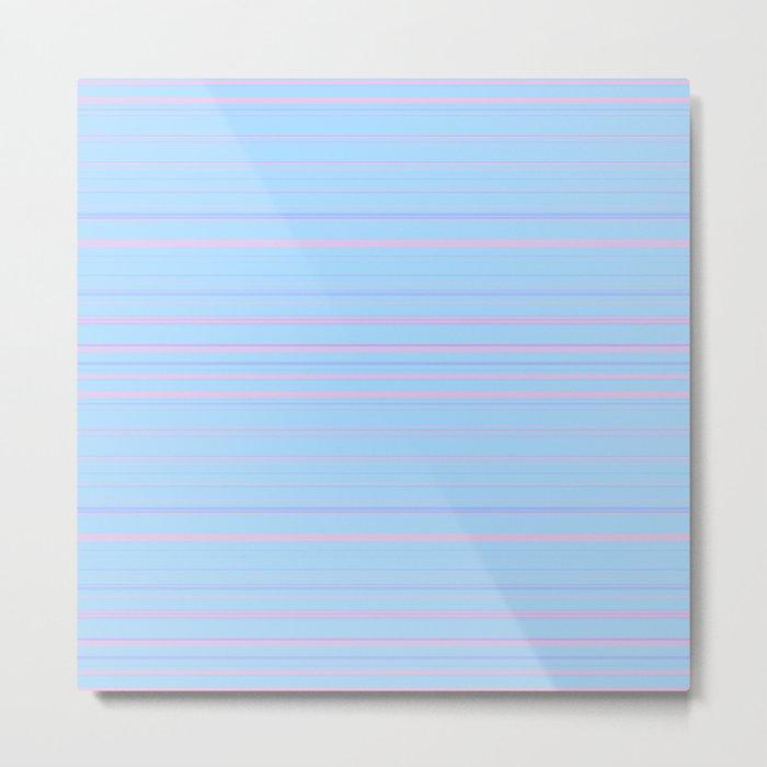 Sky Blue & Light Pink Candy Lines Metal Print