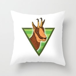 Chamois on the rocks Throw Pillow