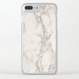 Classic Beige and White Marble Natural Stone Veining Quartz Clear iPhone Case