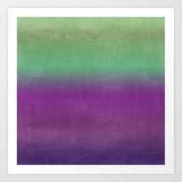 Plum Purple and Green Watercolor Abstract Art Print