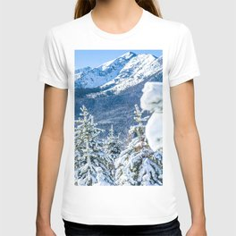 Powder Forest // Through the Trees Blue Snow Cap Mountain Backdrop T-shirt