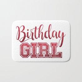 Red Glitter Birthday Girl Celebration Trendy Chic Bath Mat