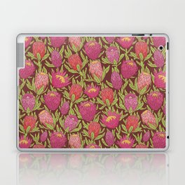 Pink protea flowers with green leaves on brown background Laptop & iPad Skin